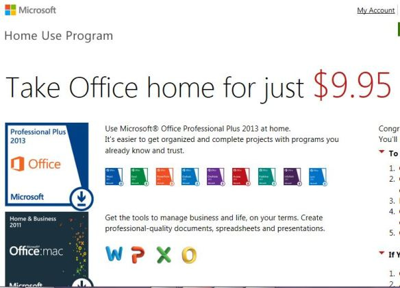 Microsoft Home Use Program - Full Office Suite for $9.95!