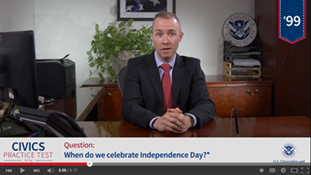Independence Day Civics Test Question Screen Shot